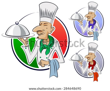 Cook restaurant. Vector illustration isolated on a white background.
