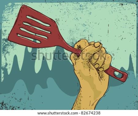cook's hand. - stock vector