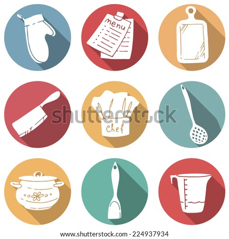 Cook's tools and items set. Set of modern flat round icons with long shadows. - stock vector