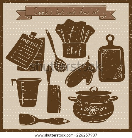 Cook's tools and items set. Vintage vector illustration.