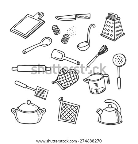 Cook's tools hand-drawn white and black vector icons set - stock vector