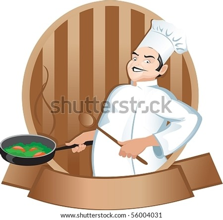 cook with a frying pan - stock vector