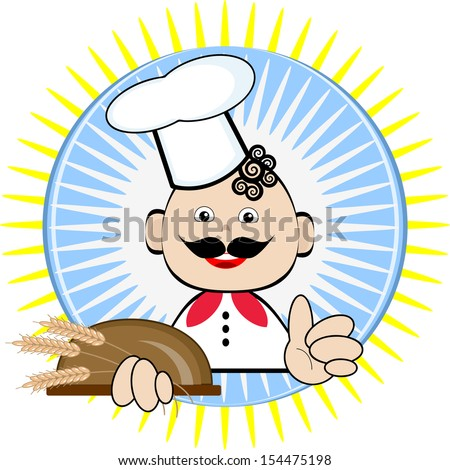 Cook with bread. - stock vector