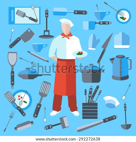Cook with dish in hand. A set of kitchen utensils in a flat style. Isolated kitchenware, kettle, frying pan, saucepan. The modern concept of icons for your design. Isolated vector illustration - stock vector