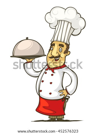 Cook with dish in hand. Isolated on white background