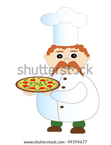 Cook with pizza