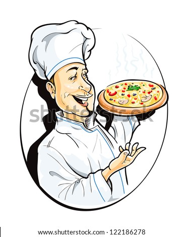 cook with pizza vector illustration isolated on white background - stock vector