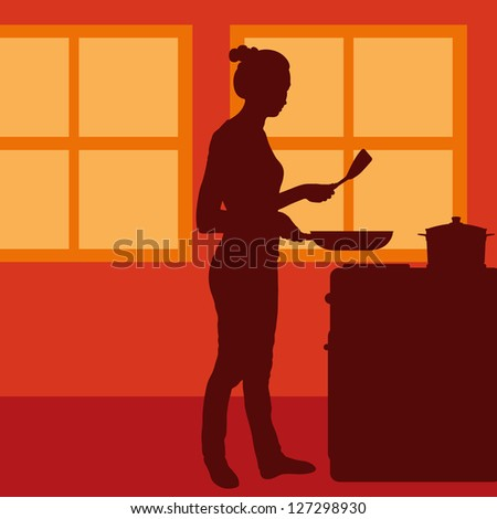 Cook woman or housewife in kitchen vector background - stock vector