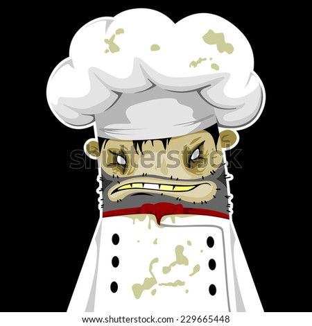 Cook zombie on a black background - stock vector