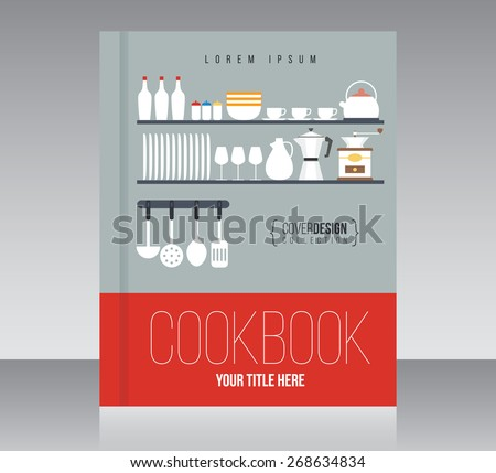 Cookbook cover design vector template, minimal style - stock vector