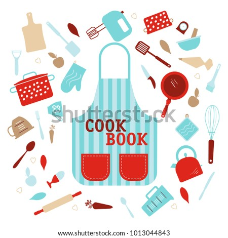 CookBook Cover With Kitchen Equipment On Background