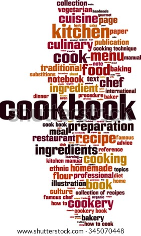 Cookbook word cloud concept. Vector illustration