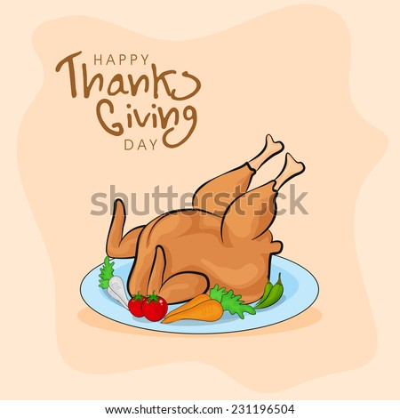 Cooked chicken legs and vegetables severed on plate on shiny beige background for Happy Thanksgiving Day celebrations.  - stock vector
