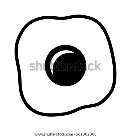 Cooked fried egg with yolk and egg white line art vector icon for food apps and websites
