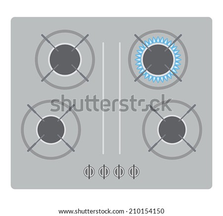 Cooker with burner top view - stock vector