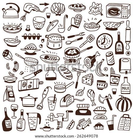Cookery doodles  - stock vector