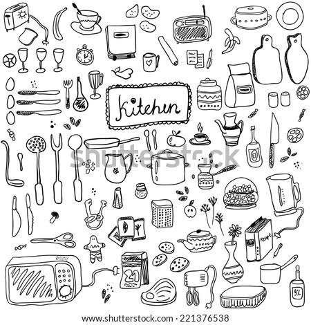 Cookery doodles collection. Stylish design elements: cup, fork, spoon, spices, plate and others. - stock vector