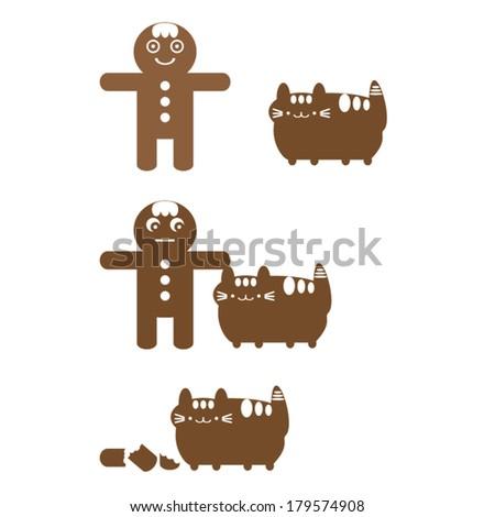 cookie eaten by Fat cat  - stock vector