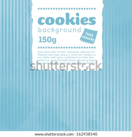 Cookies and cakes, package, baby blue, background  - stock vector