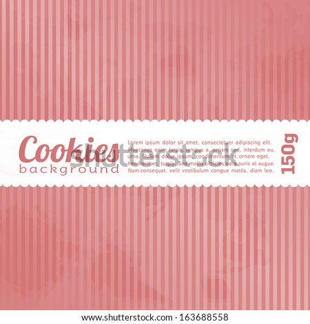 Cookies and cakes, package, pink background - stock vector