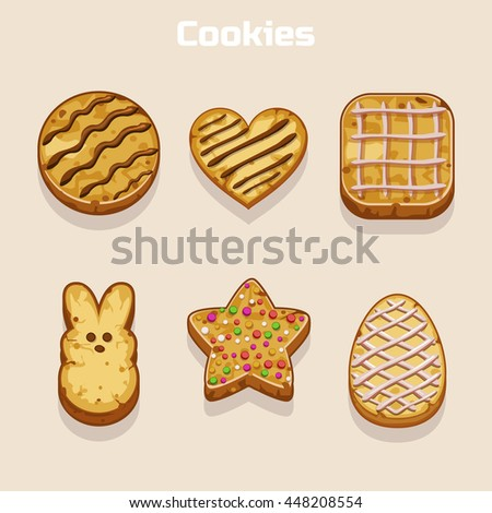 Cookies in different shapes set in vector