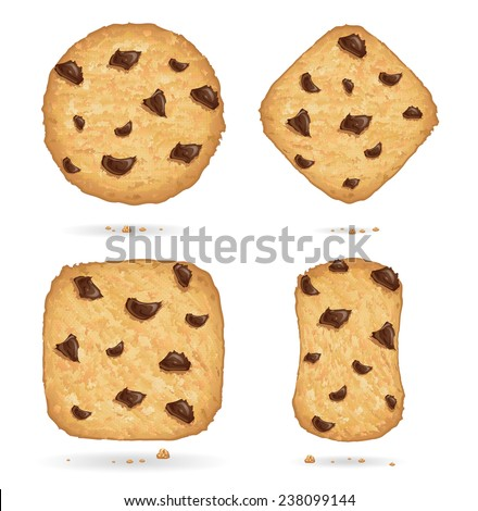 Cookies with chocolate chips, many shapes - stock vector