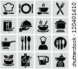 Cooking and kitchen icons - stock photo