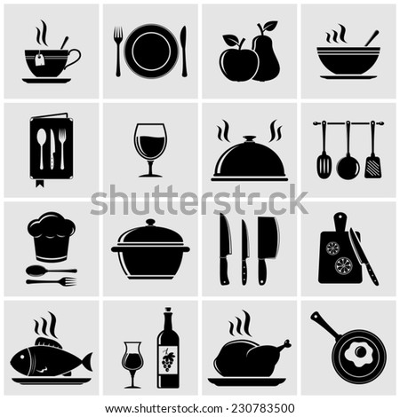 Cooking and kitchen icons - stock vector