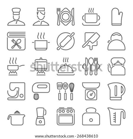 Cooking and kitchen line icons - stock vector