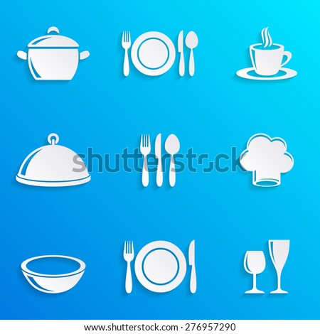 Cooking and kitchen restaurant menu icons with shadows