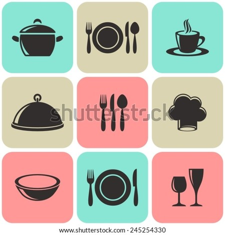 Cooking and restaurant menu icons retro squares collection - stock vector