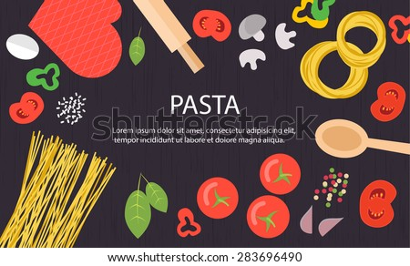 Cooking background with raw pasta, tomatoes, mushrooms, spices on wooden table background, top view, vector illustration - stock vector