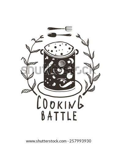 Cooking Battle Sign with Laurel and Label Monochrome Design . Black and white illustration for cooking event. Vector EPS10.  - stock vector