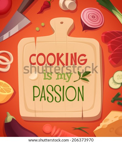 Cooking card \ poster design. Vector illustration - stock vector