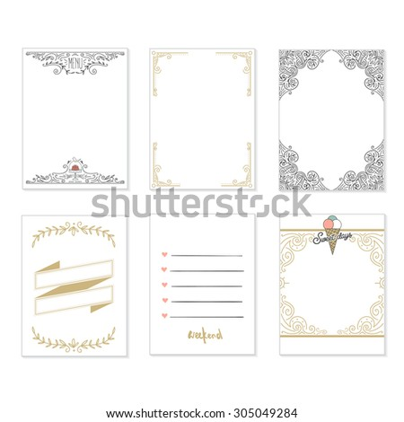 Cooking cards, notes, stickers, labels, tags with cute decorative illustrations. Template for scrapbooking, wrapping, notebooks, notebook, diary, decals. Party and wedding printable cards. - stock vector