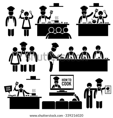 Cooking Class Chef Cook Stick Figure Pictogram Icons - stock vector