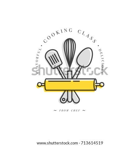 Cooking class linear design element kitchen stock vector hd royalty cooking class linear design element kitchen emblem symbol icon or food studio label ccuart Image collections