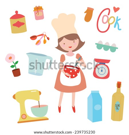 Cooking clipart set with young girl preparing sweet food - stock vector