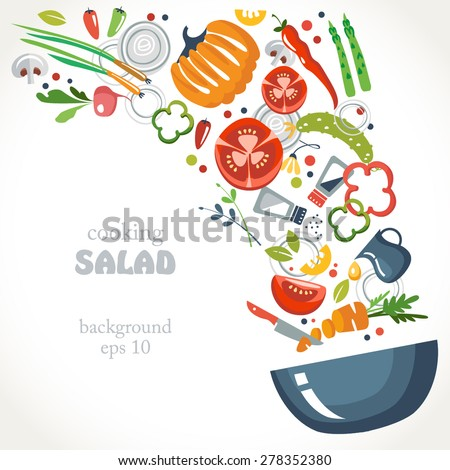 cooking collection background salt pepper spices asparagus mixed dish bowl knife cut - stock vector