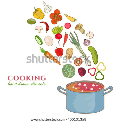 Cooking collection background vegetables fly in a pan hand drawn elements - stock vector