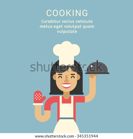 Cooking Concept. Female Cartoon Character Standing with Ready Meals. Flat Design Vector Illustration - stock vector