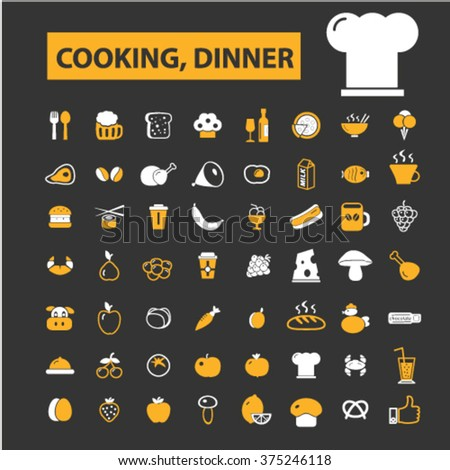Cooking concept icons: hotel services, menu, dining, pizza, bill, beer, cafe, fast food, cafeteria, beverage, hot dog, bbq, pub, meat meal, drinks. Vector illustration  - stock vector