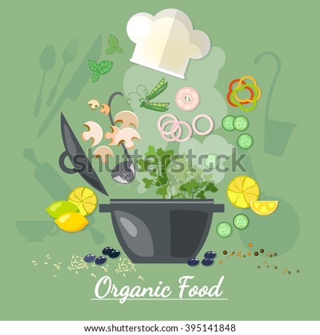 Cooking food cook soup recipe vegetables fly in a pan vector illustration - stock vector