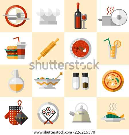 Cooking food icons set with cutlery chef hat wine bottle pot isolated vector illustration - stock vector