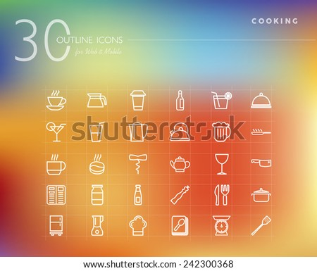 Cooking food line icons set for web and mobile app. EPS10 vector file organized in layers for easy editing. - stock vector
