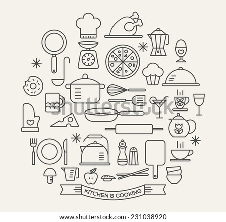 Cooking Foods and Kitchen outline icons set - stock vector