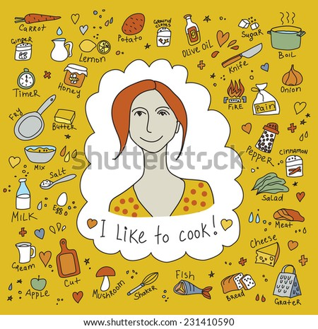 Cooking girl and objects Color vector Illustration. Funny card with happy girl. - stock vector
