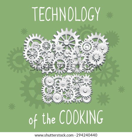 Cooking hat shape made of cogs and gears - stock vector