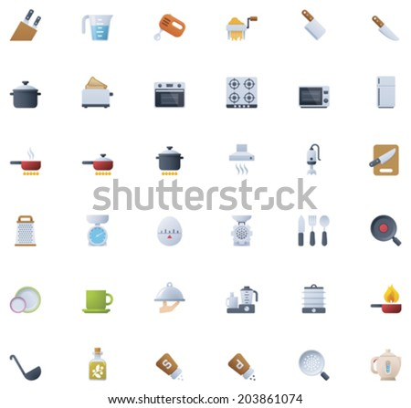 Cooking icon set - stock vector