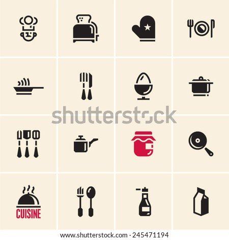 Cooking icons. Cuisine. Dishes. - stock vector